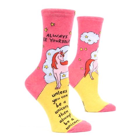 Womens Crew Socks - Always Be A Unicorn