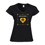 Custom printed women's v-neck t-shirt with logo printed on front