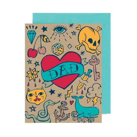 Badge Bomb Greeting Card - Dad Tattoo Flash