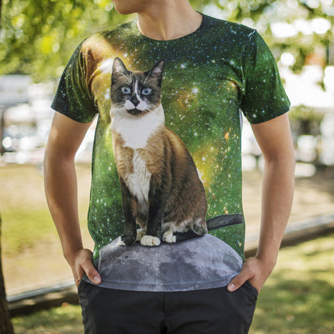 Custom Mighty Print Cat in Space T-Shirt