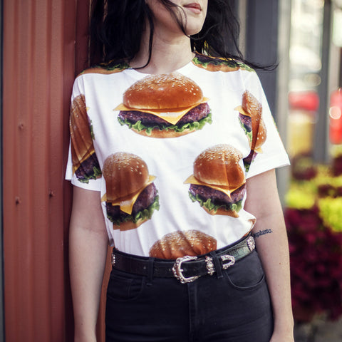 Custom Mighty Print Burgers T-Shirt