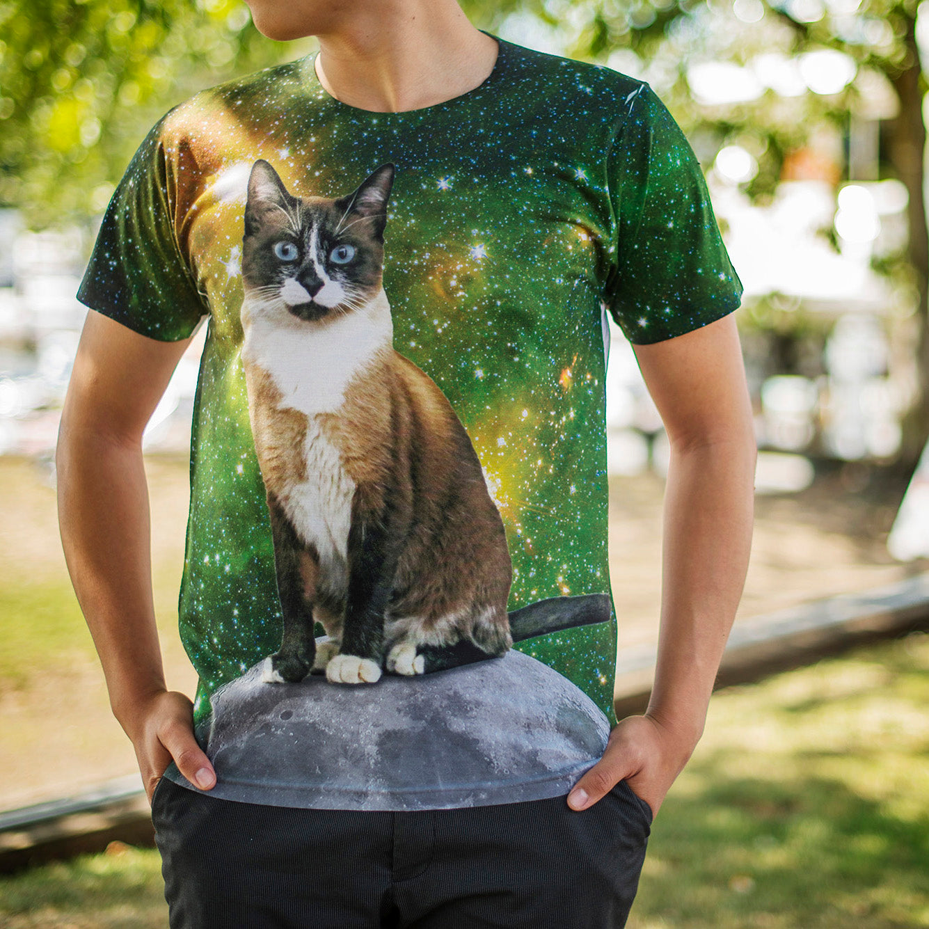 Cat in Space Make Original Mighty Print T Unisex