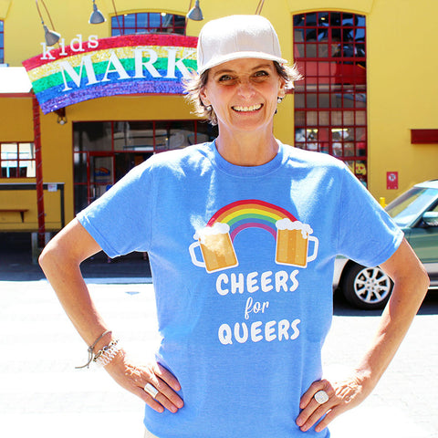 Cheers for Queers Make Original Heather Royal Blue T-Shirt Mens