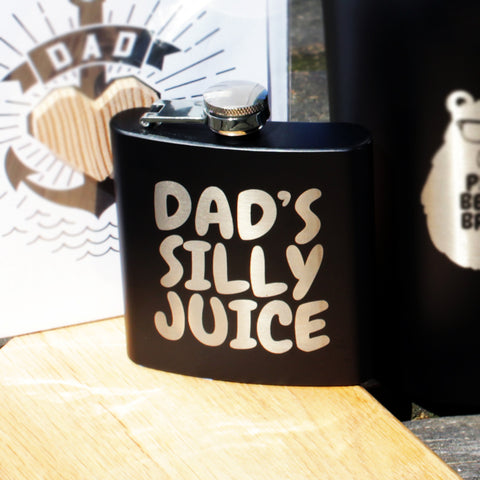 Dads Silly Juice Make Original Stainless Steel 6oz Flask - Black Matte