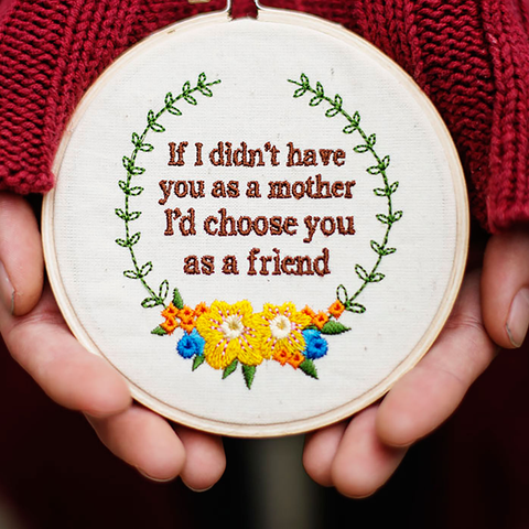 Mother's Day Embroidered Hoop Ornament