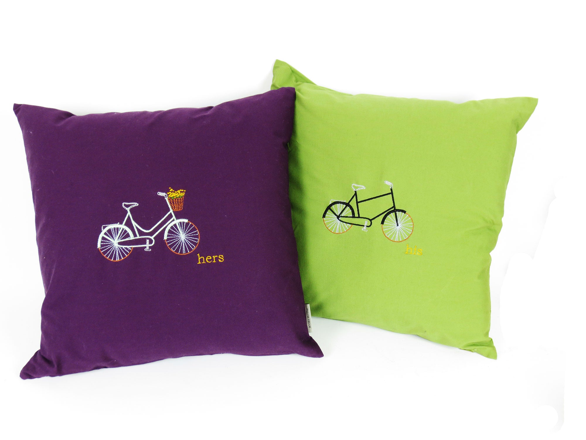His and Hers Bicycle Embroidered Pillows