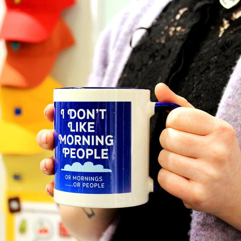 I Dont Like Morning People Make Original White Mug Navy Inner
