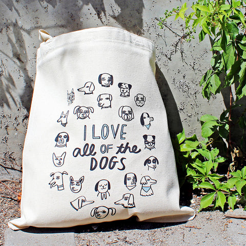 I Love All of the Dogs Make Original Natural Tote