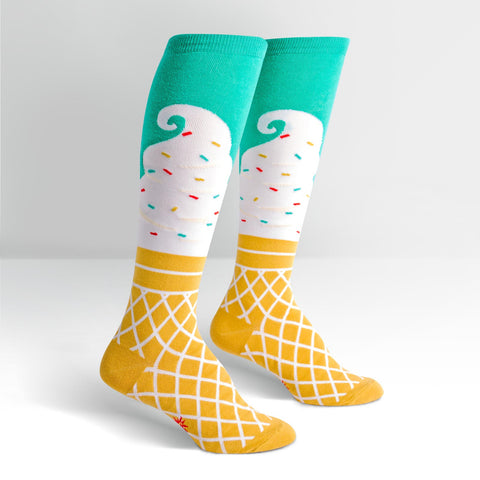 Womens High Knee Socks - Ice Cream Dreams