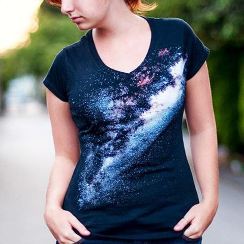 Custom Classic Print Galaxy V-Neck T-Shirt