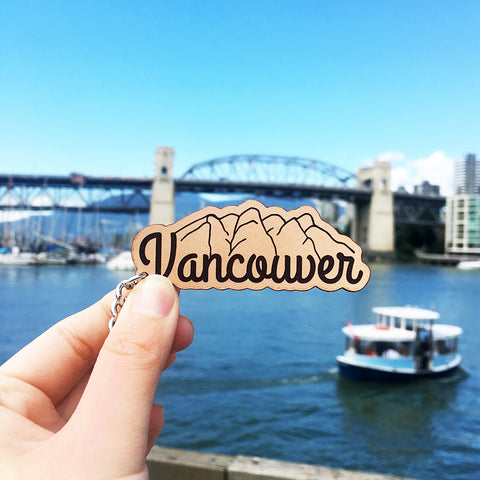 Vancouver Mountains Make Original Leather Keychain