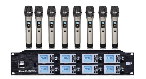 Wireless Microphone UHF 8 Way Mic System c/w 8 hand held mics 2019 model!