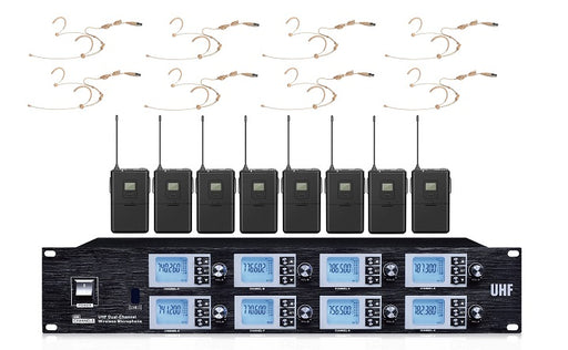 Wireless Microphone UHF 8 Way Mic System c/w 8 Head Set Mics 2019 model!