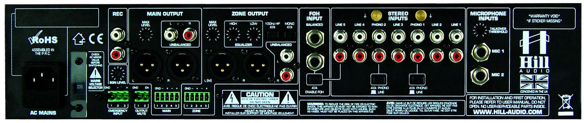 Hill Audio Zoning Mixer ZPR2820