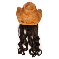 Billy Curlington Distressed Straw Cowboy Hat with Curly Black Hair