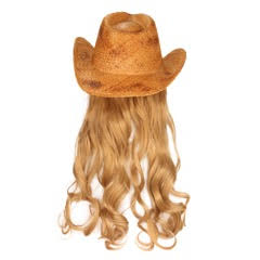 Billy Curlington Distressed Straw Cowboy Hat with Curly Blonde Hair