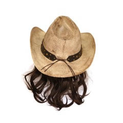 Snake Skin Cowboy Hat with Black Mullet