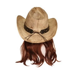 Snake Skin Cowboy Hat with Brown Mullet