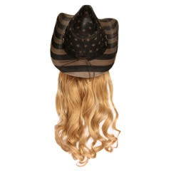 USA Cowboy Hat with Curly Blonde Hair