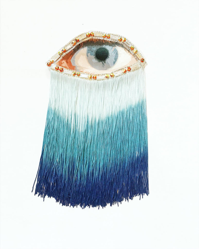 Eye Appliqué with Blue Ombre Fringe