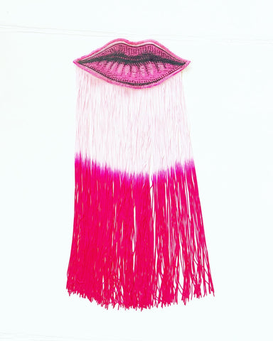 Lip Appliqué with Pink Ombre Fringe