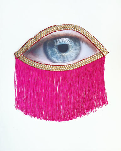 Eye Appliqué with Pink Fringe