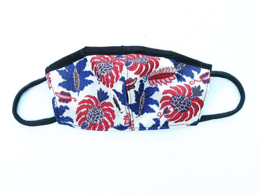 Red, Blue, White Floral Brocade Face Mask with Straw Hole