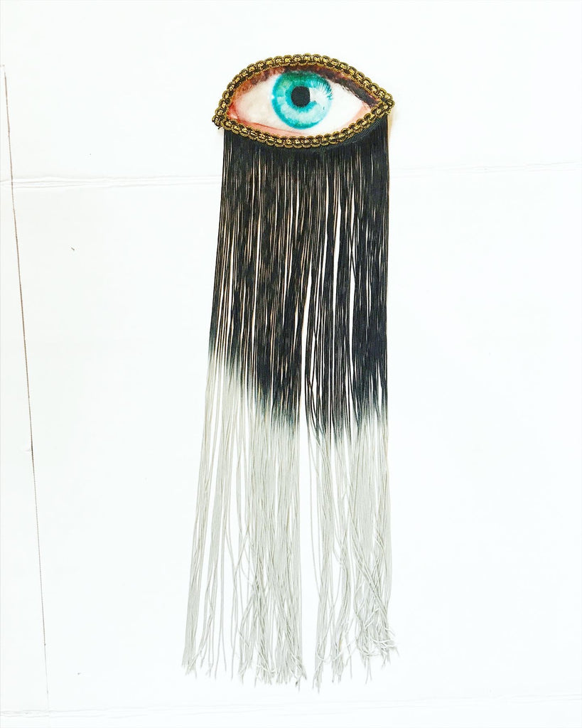 Eye Appliqué with Black/Grey Ombre Fringe