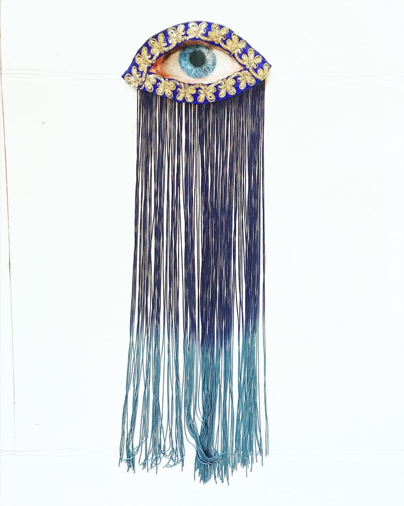 Eye Appliqué with Navy Ombre Fringe