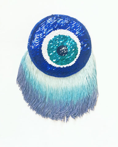 Sequin Evil Eye with Short Blue Ombre Fringe