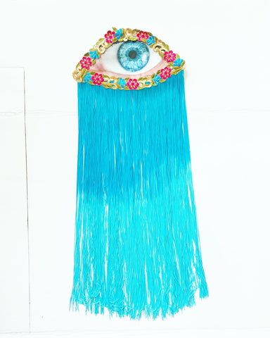 Flower Eye with Blue Ombre Fringe