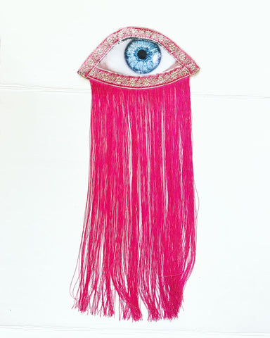 Eye Appliqué with fuchsia fringe