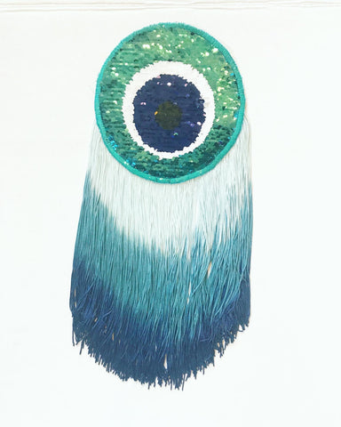 Evil Eye Sequin Appliqué with Blue Ombre Fringe