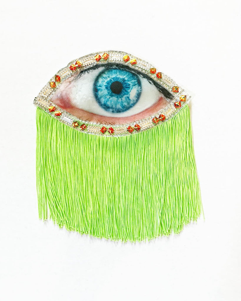 Eye Appliqué with Neon Green Fringe
