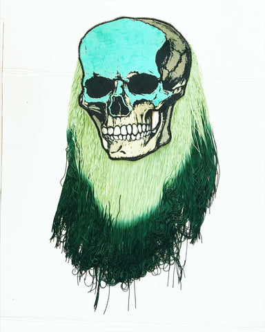 Skull Appliqué with Green Ombre Fringe