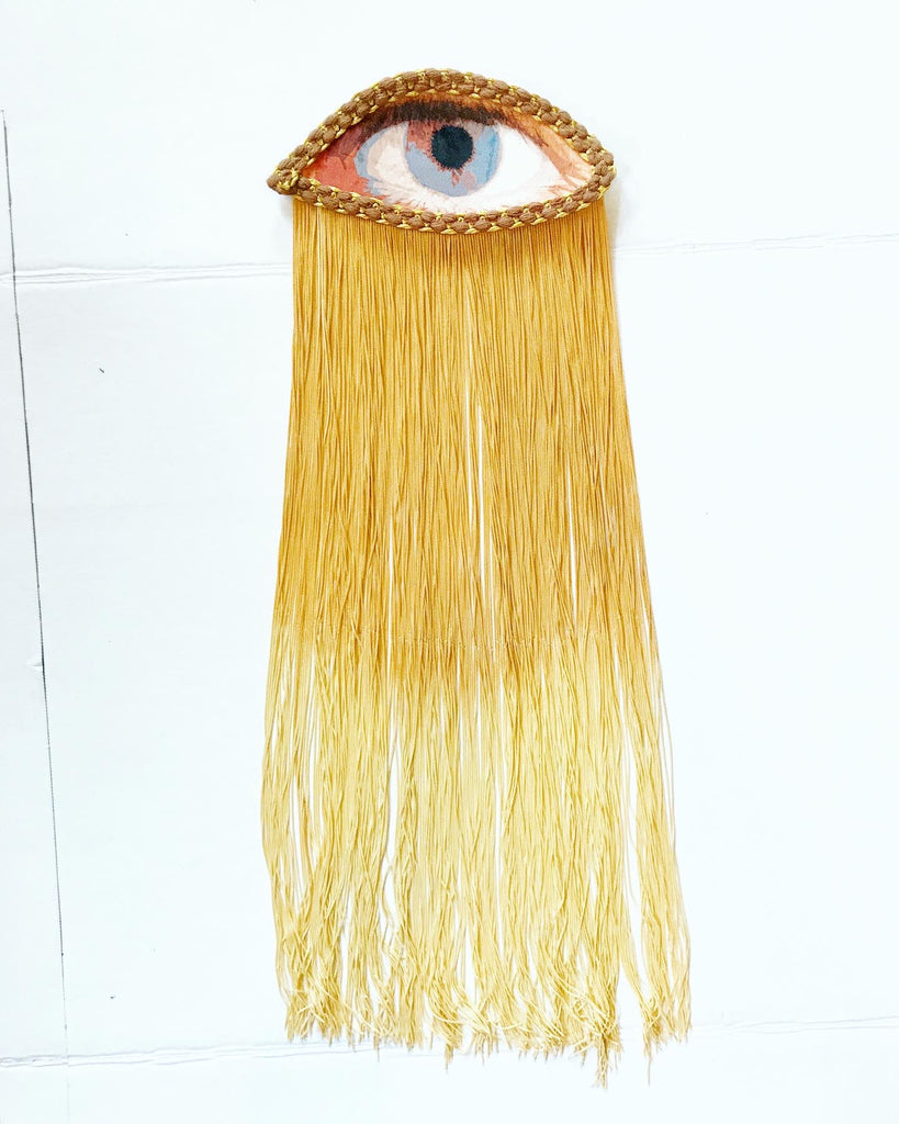Eye Appliqué with Gold Fringe
