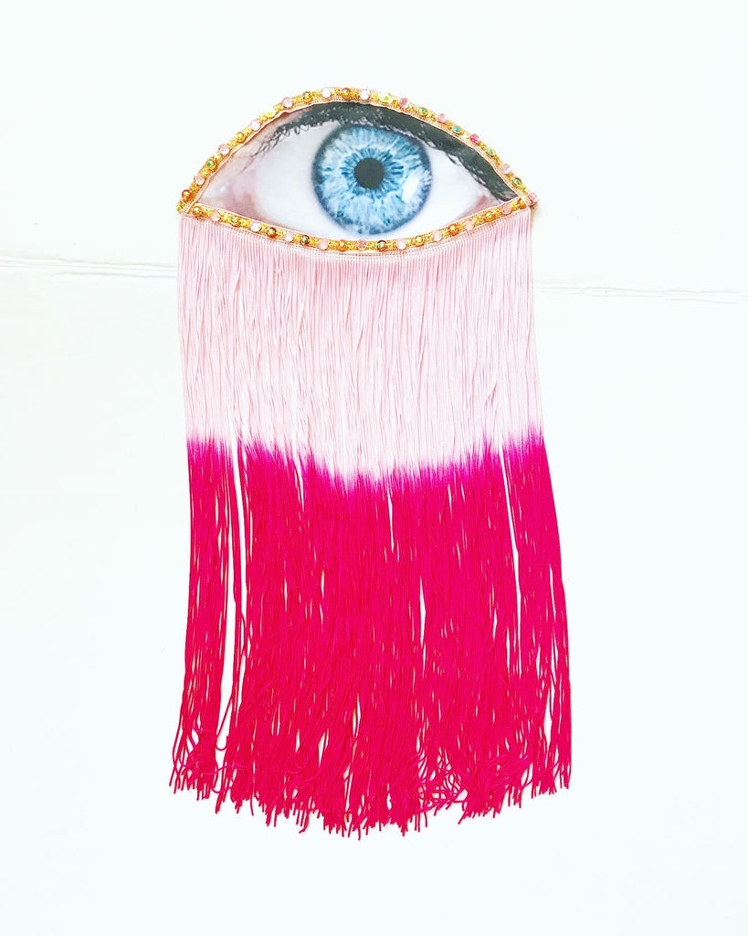 Eye Appliqué with Pink Ombre Fringe