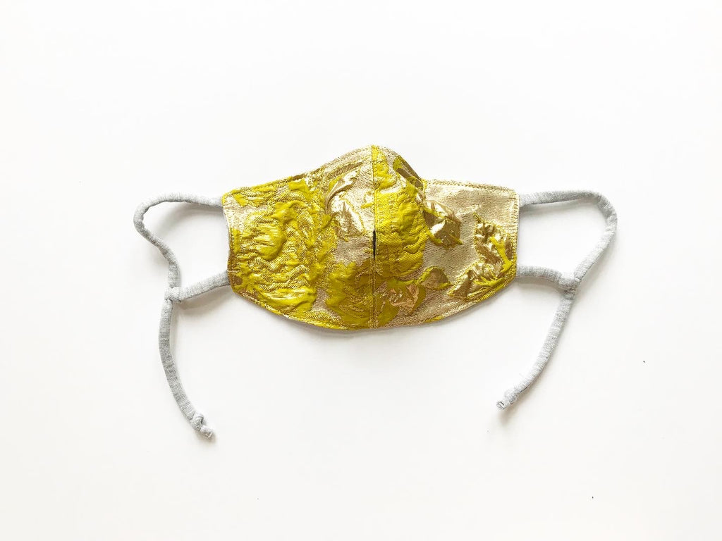 Chartreuse and Gold Brocade Face Mask with Straw Hole