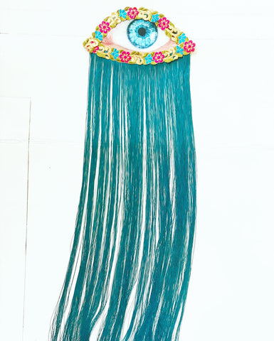 Eye Appliqué with Long Aqua Fringe