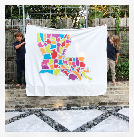Large Louisiana Map Blanket