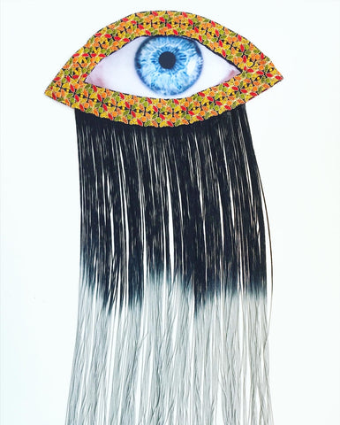 Eye Appliqué Embroidered Trim and Black Ombre Fringe
