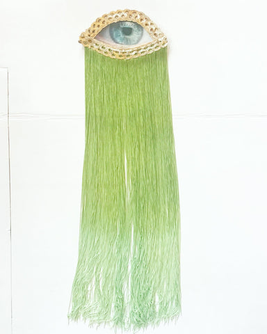 Eye Appliqué with Green Fringe