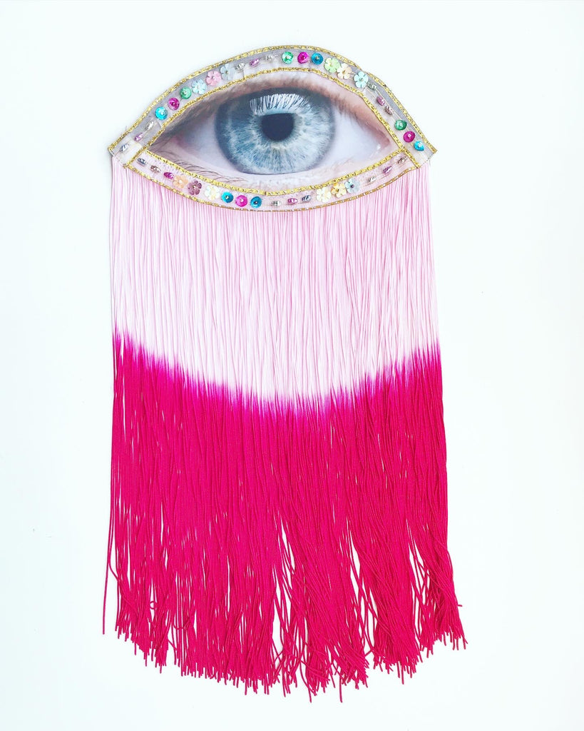 Eye Appliqués and Pink Ombre Fringe