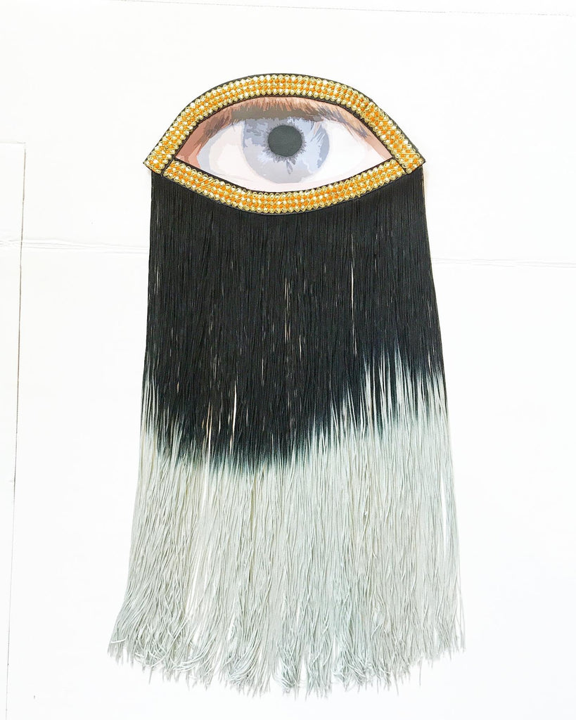 Eye Appliqué with Black Ombre Fringe