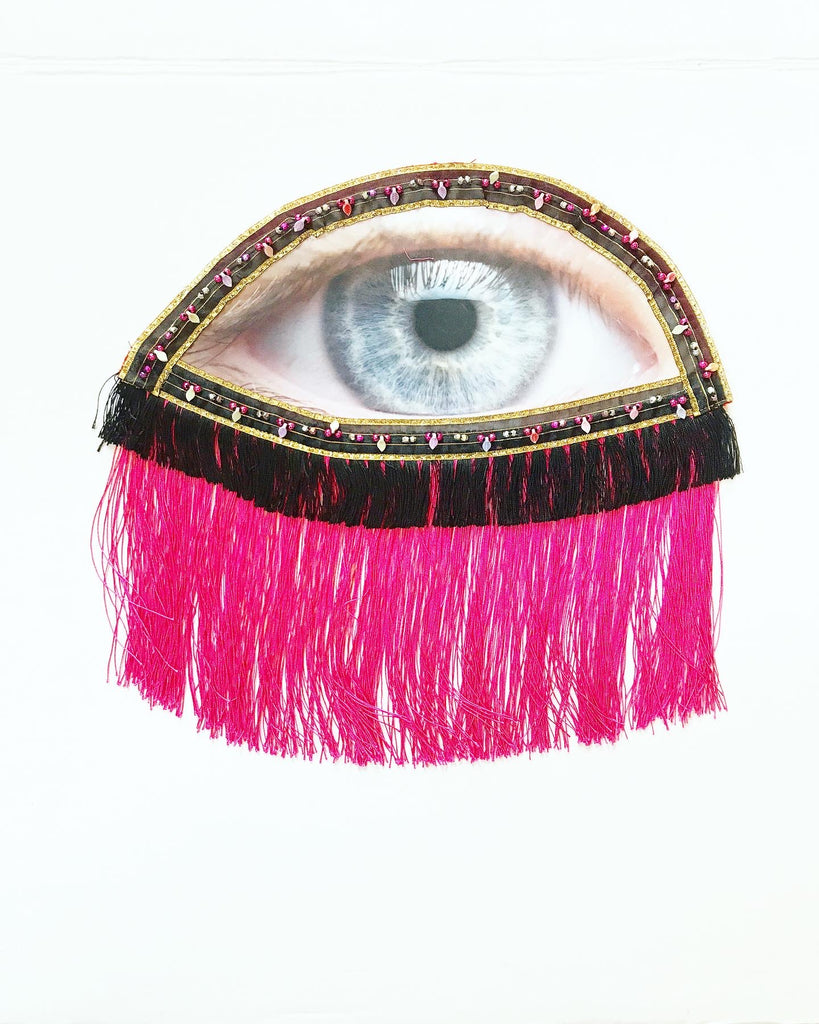Eye Appliqué with Hot Pink Fringe and Black Fringe