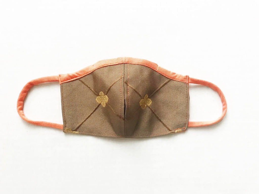 Tan Brocade Face Mask with Straw Hole