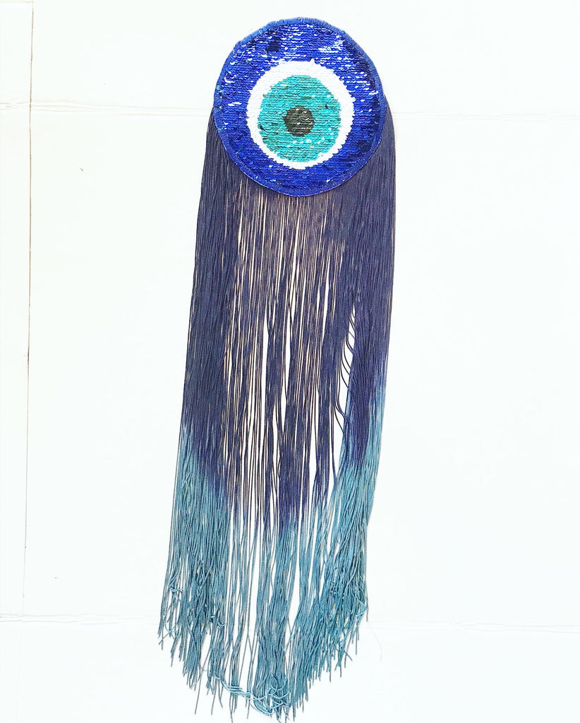 Sequin Evil Eye Appliqué with Navy Ombre Fringe