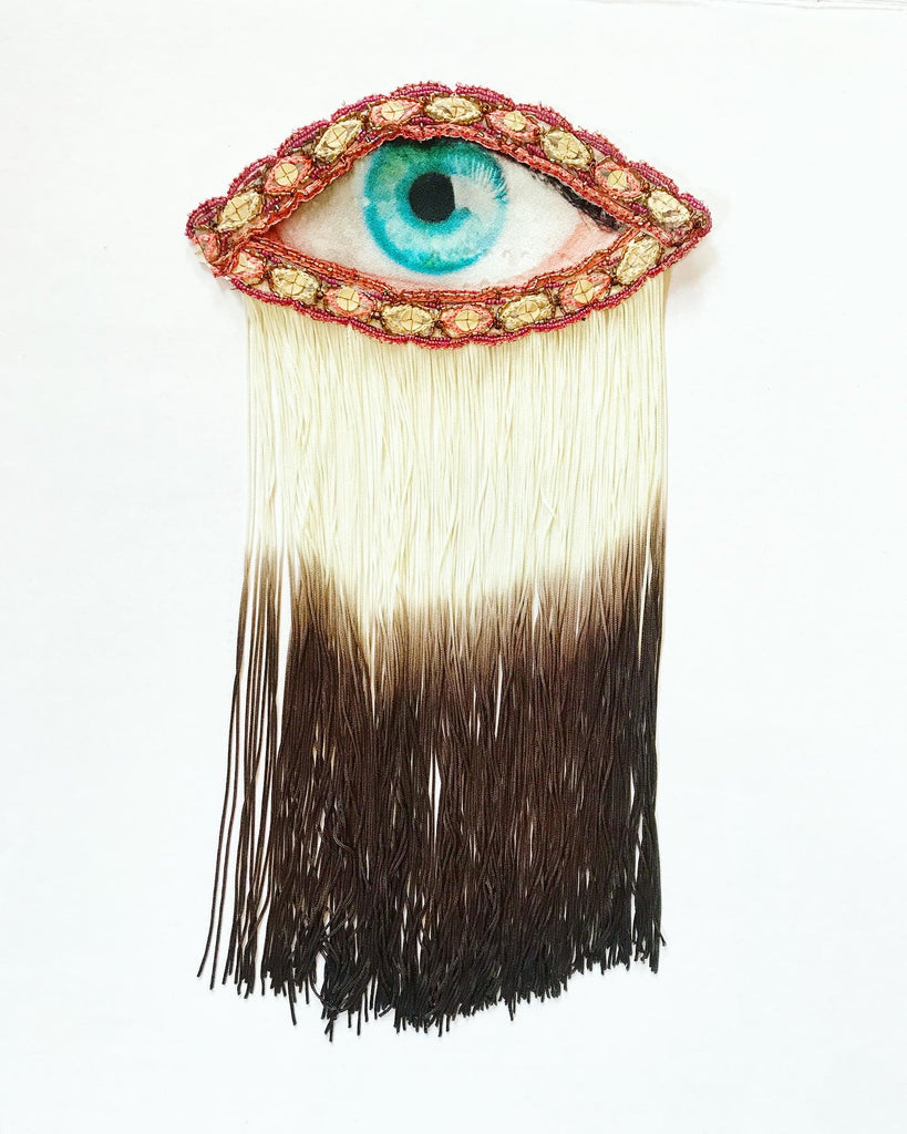 Eye Appliqué with Cream/Brown Ombre Fringe