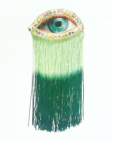 Eye Appliqué with Green Ombre Fringe