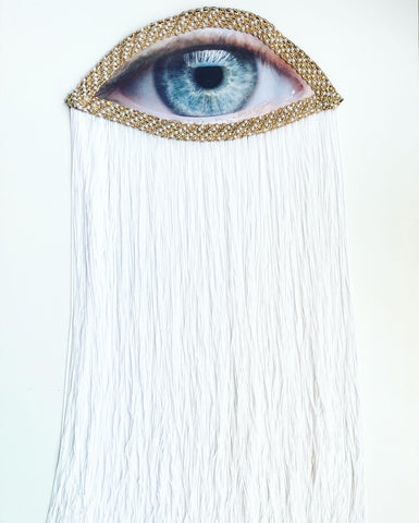 Large Eye Appliqué with White Fringe